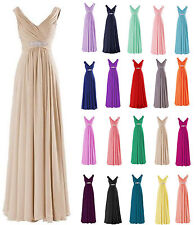 Sexy Long V Neck Chiffon Evening Prom Gown Formal Wedding Party Bridesmaid Dress