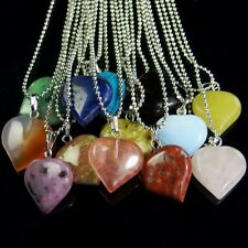 wholesale assorted natural gemstone loose beads heart pendant stone necklace