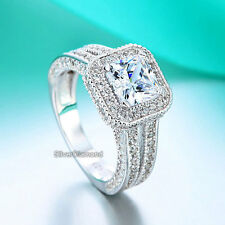 925 Sterling Silver Vintage Style Engagement Ring Simulated Diamond