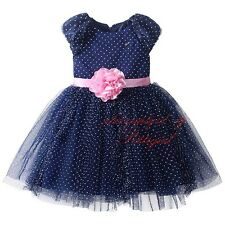 Girls NAVY Party Dress Princess Wedding Pageant Flower Girl Communion Age 3-8