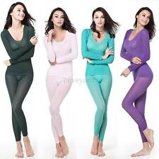 Sexy Women's Modal Long Johns Thermal Underwear Set Warm Top+Pants Sleep Suit