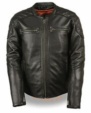 Men's Full Side Lace Vented Motorcycle Jacket w/ Quilted Shoulders & Gun Pockets