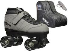 NEW Epic Nitro Indoor Outdoor Gray  Quad Roller Speed Skate Bundle with Bag