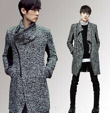 Men's Fashion Korean Wool Blend Long Slim Trench Coat Jacket Cardigan Outwear