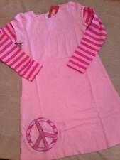 NWT Gymboree Superstar Pink Peace Sign Dress Striped Sleeves Sz 7 or 8