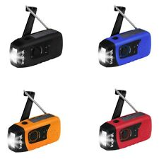 Portable Hand Crank Solar FM Radio Emergency LED Flashlight Torch Phone Charger