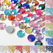 1000pcs AB Colors (1.5mm - 8mm) Acrylic Flatback Rhinestone Scrapbook Nail Craft