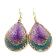 Fine Quality Hypoallergenic Color Gold Silk Peacock Tail Thread Earring Hot Sale