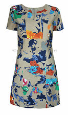 New White Stuff s 8 -16 Cotton Linen Brown Blue Orange Pink Floral Tunic Dress