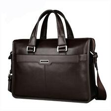 Mens Laptop Briefcase Messenger Shoulder Genuine Leather Business Handbag Bag Wd