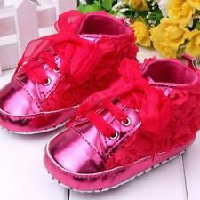 Infant Baby Toddler Girl Soft Sole Flower Lace Up Princess Crib Prewalker Shoes