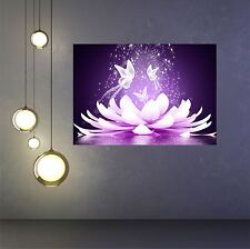 Beautiful lotus flower & Butterflys -  poster print wall art