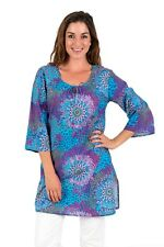 "Cotton Kaftan Dress or beach cover up from Spirituelle - ""Reef Aqua"" XS-3XL"