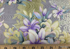 Easter Lily Lilac Purple Floral Fabric Flowers Butterfly Quilting Cotton t1/26