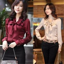 Women V-neck Apricot/Red Bodysuit Blouse Long Sleeve OL Button Down Shirt Tops