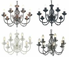 Classic 7 arm ceiling light fitting - various finishes with bulbs