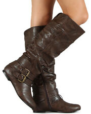 Nature Breeze Vickie-20 New Women Leatherette Buckle Slouchy Knee High Flat Boot