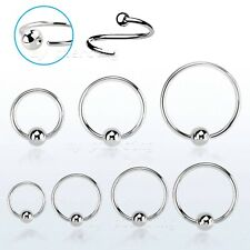 2pcs  20g, 18g, 16g, 14g Steel Fixed Ball Captive Bead Ring Tragus Nose Earrings