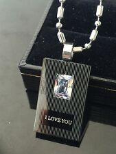 Quality Stainless Steel Necklace Black Tag w Crystal Pendant & Chain SN034