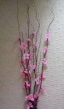 Twig lights with pink flowers
