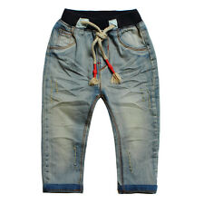Kids Girls Toddlers 100% Cotton Denim  Trousers Vintage Washed Jeans Pants P882