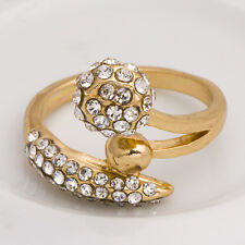 New arrival Womens Gold Filled Clear CZ Snake Promise Love Band Ring Size 7.8