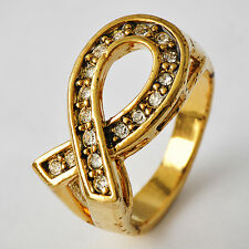 Unique Yellow Gold Filled Clear CZ Womens Promise Love Band Ring Size 7-10