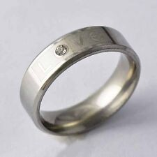 "Stainless steel Clear CZ ""Love "" Unisex Promise Love Band Ring Size 7,8,9,10,11"