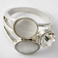 Classy Womens White Gold Filled Clear Opal Promise Love Band Ring Size 5,6,8,9