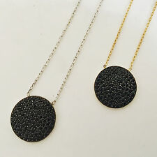 925 Sterling Silver / Gold Vermeil Black Cubic Zirconia CZ Disc Circle Necklace