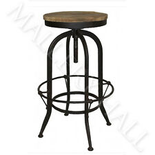 Industrial Steel & Pine Wood Bar Stool Backless