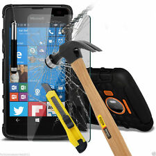 Shockproof Dual Layer Heavy Duty Case Cover+Glass Screen Protector for Lumia