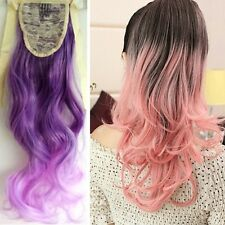 Women Long Curly Ribbon Hairpiece Clip-In Hair Extensions Gradient Wavy Hair L39