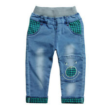 Kid Boys Girls Toddlers 100% Cotton Trousers Plaid Bottom Denim Pants Jeans P895