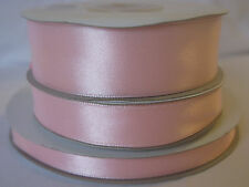 Full reel baby pink double sided satin ribbon 3 10 16  25mm crafts cards wedding