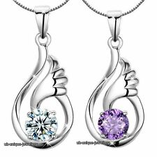 925 Silver Angel CZ Crystal Necklace Pendant Chain Gift For Her Girlfriend Women