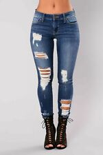 Ladies Ripped Knee Sexy Skinny Jeans Womens Stretchy Denim Jegging 6 8 10 12 14