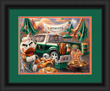 Miami Hurricanes Framed Tailgate Print - Poster Wood Wall Sign Man Cave