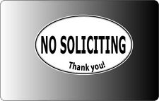 No Soliciting oval sticker decal inside window static cling magnet