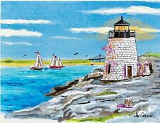 CASTLE HILL LIGHTHOUSE Art Print Newport RI Inn Cove Marina Light Sailing Gift