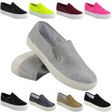 WOMENS LADIES SLIP ON FLAT PLIMSOLLS SNEAKERS SKATER TRAINERS PUMPS SHOES SIZE