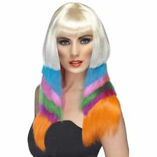 Ladies Raver multi coloured layered fancy dress wig 80's 90's adult dressing up