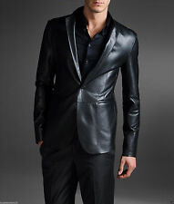Brand New Men's Genuine soft Lambskin Leather BLACK Blazer Jacket Mens Coat NB09
