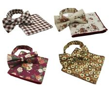 MENS 2 PCS COTTON COMBO: BOW TIE + POCKET SQUARE HANKY HANDKERCHIEF - CHOOSE SET