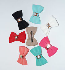 New Girls Ladies Bow Hair Bands Elastic Bobbles or Bow Clips Hairband Fabric