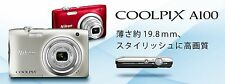 New! NIKON COOLPIX A100 20MP Digital Camera with 5x Zoom Silver/Red Japan Import