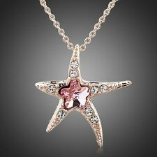 women's jewelry Rose gold plated Crystal-stone Rosa Flower Sea Star Necklace