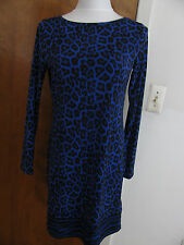 NWT Michael Kors women's printed dark azurite boat neckjersey shift dress S,M,L