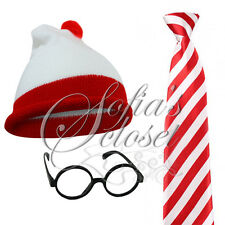 Childrens Charlie Hat Tie Glasses Adult Red White United Fancy Dress School Book