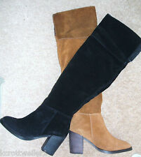RRP £210 CARVELA KG WISH SIZE 4 6 7 BLACK TAN REAL SUEDE THIGH OVER KNEE BOOTS